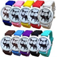 Wholesale Jelly Silicon Quartz Watch - Fashion silicon Watches Lovely large eye cat watches cartoon small black cat Quartz Jelly Candy Watch Unisex Women's Watch DHL 100PCS
