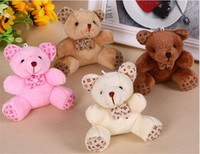 Wholesale Teddy Bear For Mobile - teddy bear plush doll toy pink brown white plush teddy bears for mobile phone keychains wedding party chilren birthday gifts