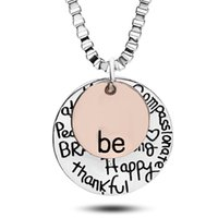 Wholesale coin necklaces online - 2016 Hot sell rose gold quot Be quot Graffiti Friend Brave Happy Strong Thankfull Charm Pendant Necklaces coin round letter jewelry whosale