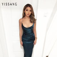 Wholesale Drop Ship Maxi Dresses - Wholesale- New arrival 2017 satin dress solid sexy backless halter sleeveless party clubwear women maxi dresses drop shipping