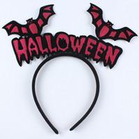 Wholesale plastic toy bat - Halloween headband Wholesale masquerade party props decorative pumpkin vampire bat hair bands head buckle