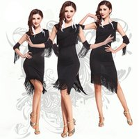 Wholesale Dance Costume For Jazz - 2016 New Arrival One Shoulder Sexy Adult Latin Salsa Jazz Ballroom Fringe Dance Costumes for Women,Knee-Length Stage Dancing Dress Black Red