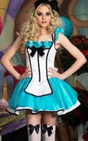 Wholesale Adult Alice Costume - Wholesale-Free Shipping Hot Sale Lovely Sexy Costumes Women Halloween Adult Tea Party Alice Costume 3F1280
