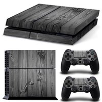Wholesale Wood Grain Vinyl - Gray Wood Grain PS4 Games Skin Decals Vinyl Wrap Stickers Protector For PlayStation 4 Console & 2 PCS Controller Skins for Free