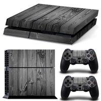 кожаный винил ps4 оптовых-Серый древесины зерна PS4 игры кожи наклейки Виниловые наклейки Wrap протектор для PlayStation 4 консоли 2 шт контроллер шкуры бесплатно