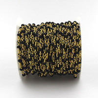 Wholesale Black Faceted Gemstone Beads - Wholesale Black Spinel Rosary Style Beaded Chain - 4x3mm Faceted Rondelles Black Spinel Beads wire wrapped Gold Plated Chain Beaded Gemstone