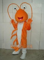 Wholesale Shrimp Mascot Costumes - Wholesale-Shrimp Prawn Lobster Langouste Mascot Costumes Adult Fancy Dress Cartoon Party Outfits Free Shipping