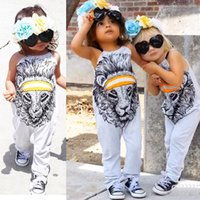 Wholesale Kids Lion Costume - Girl Rompers Summer Cartoon Lion Print Girls Jumpsuit Baby Clothes 2017 Fashion Halter Cute Animal Toddler Romper Kids Costume Outfits