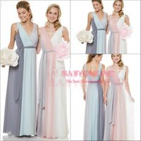 Wholesale Two Tone Long Bridesmaid Dresses - Two Tones Colorful Chiffon Bridesmaid Dresses 2016 V Neck Backless Ruched Plus Size Elegant Cheap Maid Of Honor Wedding Guest Party Gowns