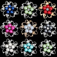 Wholesale Pearl Decorated - Fashion Wedding Bridal Bouquet Decorated Brooches Pins Gold Silver Plated Rhinestone Crystal Pearl Flowers Alloy Brooch Colorful Brooches
