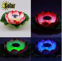 Atacado-LED Solar Lotus Lantern Água Float luz colorida LED flutuante Quintal Pond Garden Pool Night Light venda quente