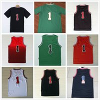Wholesale ordering roses - 2017 Cheap Hot Sale Stitched 1 basketball Jersey Rose Black Red White Green Jersey Free fast Shipping Size S--XXL Allow Mix Order
