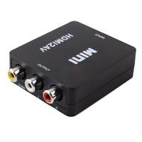 adaptador ntsc venda por atacado-HDMI para AV Adaptador Scaler HD 1080 P Conversor de Vídeo Caixa de HDMI para RCA AV / CVSB L / R Suporte HDMI2AV NTSC PAL