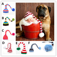 Wholesale long tail knit baby hat resale online - Newborns Colorful Knitting Long Tail Pom pom Hat Baby Photo props Christmas Green Red Long Tail Pom pom Hat colors sizes for T