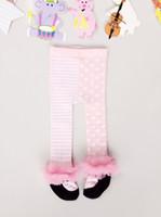 Wholesale Pantyhose Stripe Children - Autumn Winter Baby Girl Cotton Lace Pantyhose Kids Girl Leggings Pink Dots Stripes Tights Children Princess Dance Stocking Pantyhose TH02