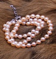 Wholesale 8mm South Sea Pearls - Beautiful 7-8mm pink perfect circle South Sea natural pearl necklace 18 inch S925 silver