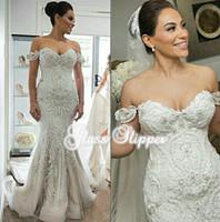 Wholesale Elegant Beaded Satin Bridal Gowns - 2016 Elegant Beaded Appliques Wedding Dresses Mermaid Off the Shoulder Sleeveless Chapel Train Sexy Back Bridal Gowns