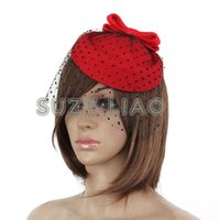 Wholesale Ladies Wool Church Hat - NEW Lady Girl Fascinator Pillbox Felt Wool Hat Hair Clip Formal Dress Bowknot Veil Hat Fascinator Hair Clip Accessory Flower Cap