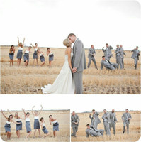 Wholesale Girls Hot Pink Bridesmaid Dresses - 2016 Cheap Hot Sale Strapless white &Gray Bridesmaid Dresses For Summer Sexy Elegant Girls Party Gowns