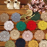Wholesale Table Flower Vases - Flower Shape Cup Table Mat Cotton Lace Crochet Doily Round Coasters Retro Colorful Vase Pad Hot Sale 0 7jy B