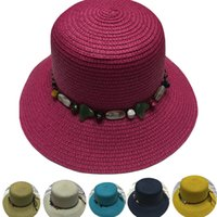 Wholesale Chapeu Bowler - Wholesale-chapeu uv summer sunhat for women vintage chapeaux plage femme grote hoeden bowler hat with rhinestone bow string blue white red