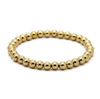 echte goldschmuck zum verkauf großhandel-Heißer Verkauf 1 STÜCKE 6mm Naturstein Perlen Schmuck Reales Gold Überzogene Runde Kupfer Perlen herren Armbänder Beste Geschenk