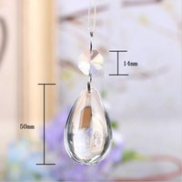 Wholesale Decoration Wedding Glass Beads - 20pcs New Tear Drop Shape Design Glass Crystals with Octagon Beads Connector Ring for Chandeliers Wedding Decoration 6 Color