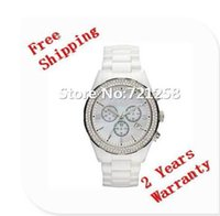 Wholesale White Ceramic Chronograph - free hk shipping _Absolute luxury New Mens Chronograph White Ceramic Watch Gent Crystal Wristwatch AR1456 1456 +original box