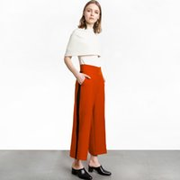 Wholesale Wide Leg Orange - Orange Stitch Elastic Waist Fashion Trousers Women High Waist Wide Leg Pant Casual Cute Loose Pants Mujer Work Clothes 50P0017