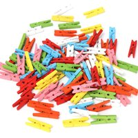 Wholesale Mini Wooden Clothespins Wholesale - Wholesale- New 100 pcs 25mm Mini Color Wooden Craft Pegs Clothes Paper Photo Hanging Spring Clips Clothespins For Message Cards