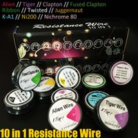 Wholesale resistance ribbon - 10 types Resistance wire drawing K-A1 Ni200 Nichrome 80 Ribbon Twisted Fused Clapton Alien Tiger Juggernaut DIY Vapor RDA Pre Coils DHL