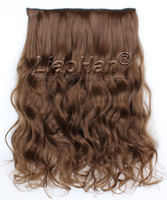 Wholesale High Lights Extensions - Long Curly Light Brown Hair Clip in Synthetic Hair Extensions High Temperature Clip on Brown Hairpieces #6