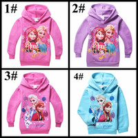 Wholesale Thick Hoodies Wholesale - Winter girls warm coat elsa anna olaf printed children thicken jackets girl kids thick hoodies sweatshirts for age 4-10T frozen clothes