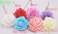 Wholesale Single Stem Roses - 6cm Single Foam Rose Flowers Stem in 12 Different Colors For Selection Wedding Flowers FREE SHIPPING BY EMS