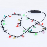 Wholesale Flashing Necklace Christmas - LED Necklace Flashing Beaded Light Glowing Pendant Necklaces Toys Christmas Gift Party Favor Gifts CCA6936 100pcs