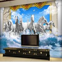 Silk Wallpaper Paper Wallpapers Waterproof Great Wall 3d White Horse Wall  Murals Wallpaper,horse Custom Part 86