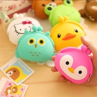 Wholesale Cute Mini Wallets Keys - Cute Mini key Wallet bag Women Silicone hasp Coin Purse Japanese Candy Color lovely Animals Jelly change Coin bag B902