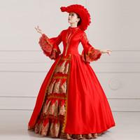 ingrosso vittoriano vintage costumi donne-Spedizione gratuita 2016 Royal Deep Red Floral Print Abiti da ballo vittoriani Maria Antonietta Costume fatto a mano per le donne