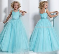bonito pageant vestidos venda venda por atacado-Venda quente bonito azul As meninas Pageant Vestidos com cintas de espaguete até o chão uma flor linha de vestidos de menina para casamentos HY1274