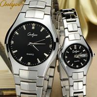 Wholesale Brand Luxury Watches Women - Wholesale-Onlyou Luxury Brand Stainless Steel Quartz Watch for Men Women Lovers Black Blue Gold Business Watch Analog Calendar Watch 8766