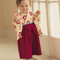 Wholesale Fashion Cute Kimonos - Kids Climb Clothes Long Sleeve Jumpsuit Rompers Girls Cute Red Kimono Fashion Bowknot Jumpsuits Baby One Piece Romper One Piece Clothing