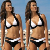 Wholesale Cheap Push Up Swimsuit Tops - Cheap Sexy Halter Top Bikinis Women Swimwear Push Up Retro Female Swimsuit Bikini Set Beachwear Bathing Suits Biquini