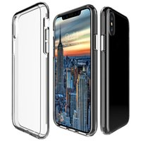Acrylique Shockproof Hard Plastic + Soft TPU Hybrid Case pour Iphone X 8 7 Plus 6 6S Galaxy Note 8 Note8 Cell Phone Clear Gel Cover Fashion Skin