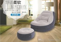 Wholesale inflatable lazy sofa Single lunch sofa leisure with pedal set sleep sofa bed inflatable modern chair with retail box Bedroom Furniture best
