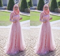 Wholesale Design Flower Evening Dress - 2017 New Design Muslim Arabic Evening Dresses Pink High Neck A Line Floor Length Flowers Formal Dresses Party Prom Gowns Custom Made