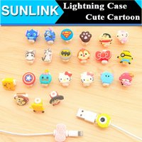 Wholesale Case Charges Iphone - Lightning Cable Saver Protect for iPhone 5S 6 Plus Charging Cable Protector Case Cute 3D Cartoon Kitty Cat Stitch Captain America Superman