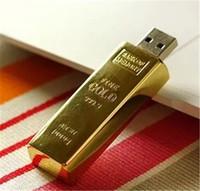 usb flash drives gold bar venda por atacado-Barra de Ouro Real de Metal 2 GB 4 GB 8 GB 16 GB 32 GB 64 GB 128 GB 256 GB USB Flash Drive Memory Stick polegar Pendrive Drive para tablet PC