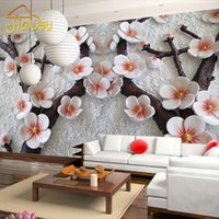 Wholesale Flower Wallpapers High Quality - Wholesale- High Quality Modern Luxury Wallpaper Papel De Parede Custom 3D Wall Mural Photo Wall Paper Chinese Embossed Flower Living Room
