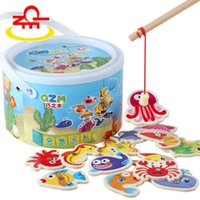 Wholesale Toys Paradise Baby Toys Magnetic Marine Fishing Wooden Toys Ocean Animal Fishing Toys Barrel Package Birthday Gift