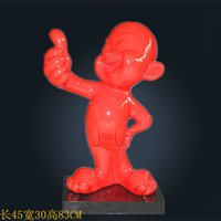 Wholesale Block Country - cute red boy sculpture American country pub decor crafts resin sculpture molds making business opening gift